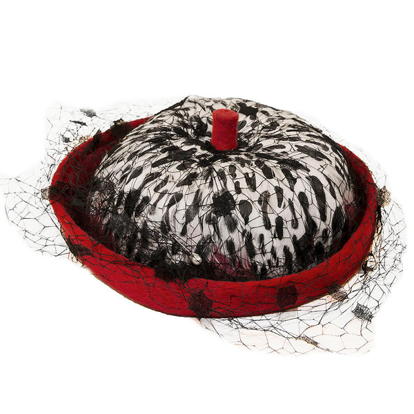 Vintage 1950s Feathered Hat By Leslie James<br>Red, White & Black Feathers, Netting