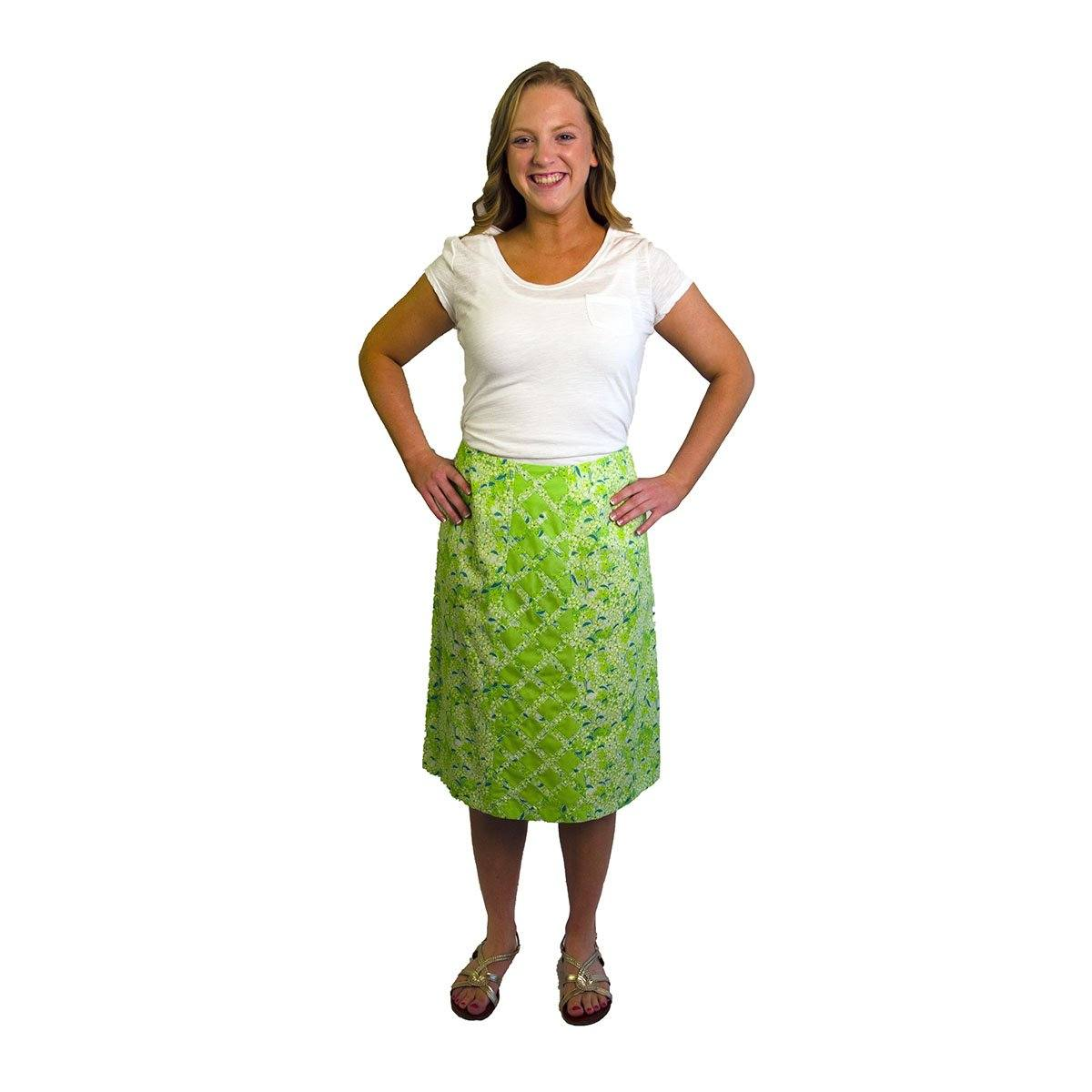 1970s Lilly Pulitzer, The Lilly Green Floral Skirt, Size Medium 2