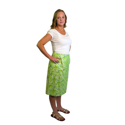 1970s Lilly Pulitzer, The Lilly Green Floral Skirt, Size Medium 4