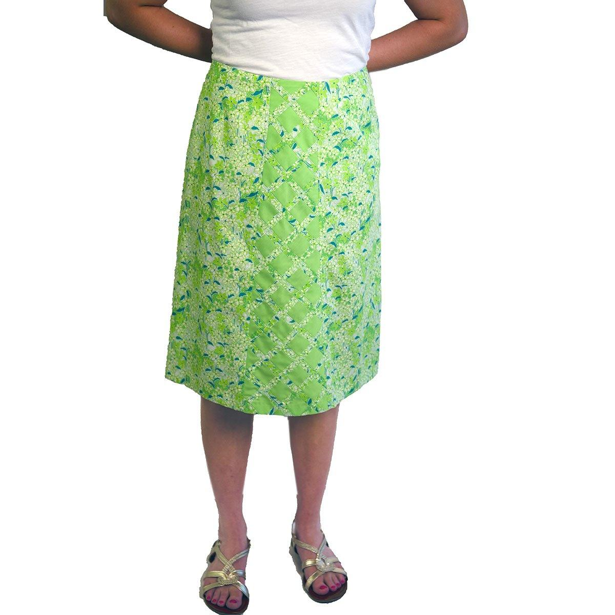 1970s Lilly Pulitzer, The Lilly Green Floral Skirt, Size Medium 3
