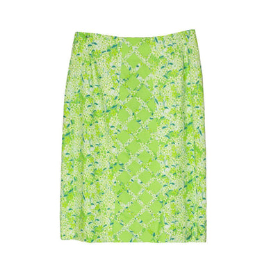 1970s Lilly Pulitzer, The Lilly Green Floral Skirt, Size Medium