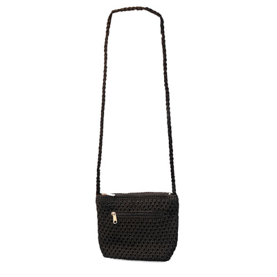 Small Black Macrame Shoulder Bag