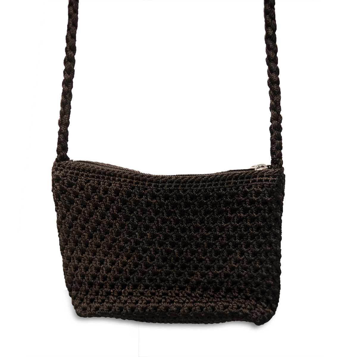 Small Black Macrame Shoulder Bag 3