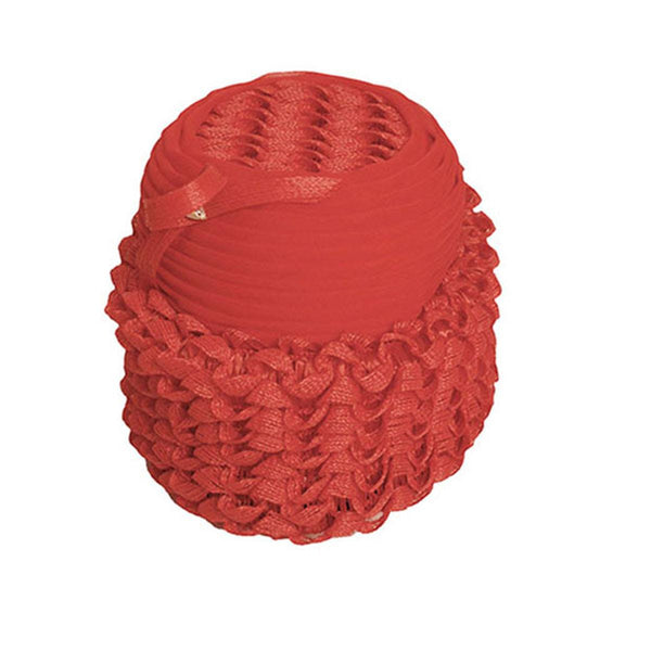 1960s Red Ruffled Flower Pot Hat by Linda Farrell, Size 21.5