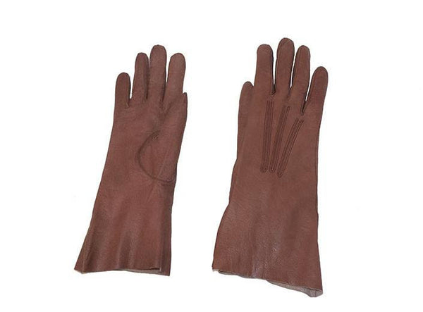 1950s Winter Gloves, Light Brown Kidskin