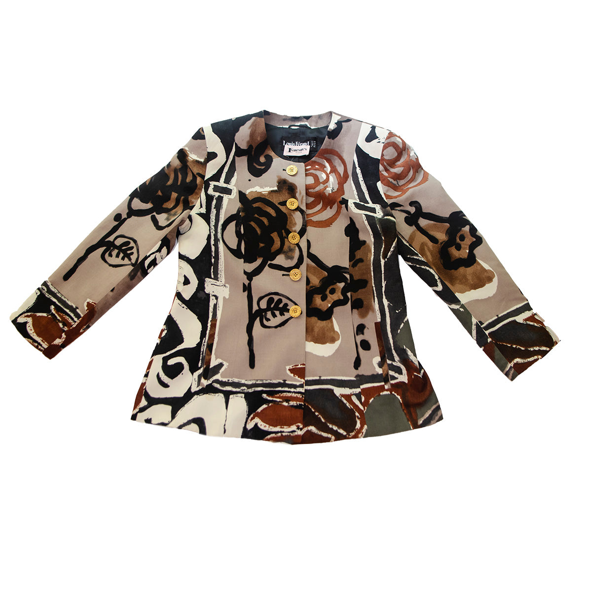 Louis Feraud Blazer, Abstract Print, Gold Buttons, Size 14