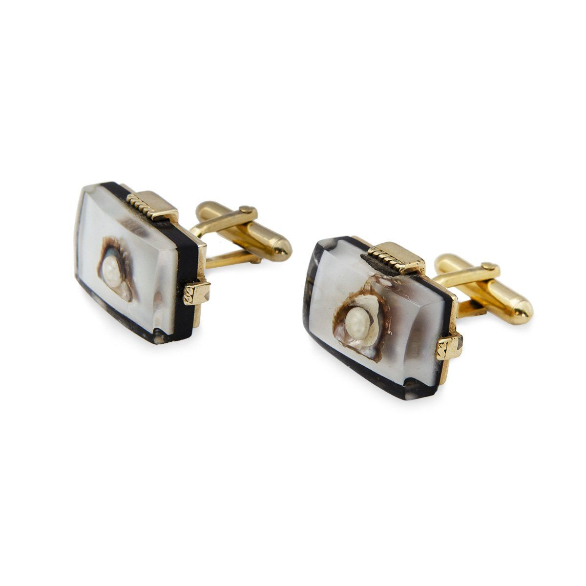 Vintage Swank Cufflinks 2, Lucite, Oyster Shell & Pearl