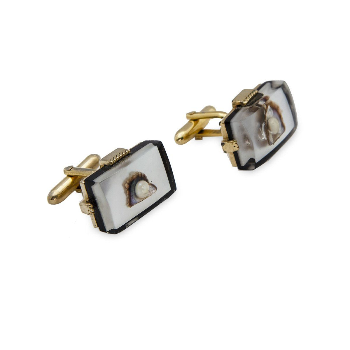 Vintage Swank Cufflinks 3, Lucite, Oyster Shell & Pearl