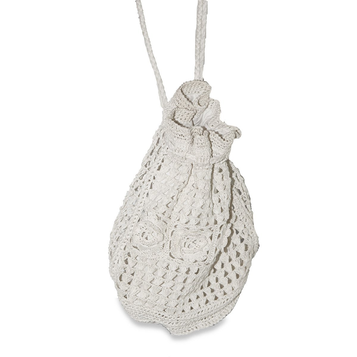 White Straw Macrame Backpack Handbag
