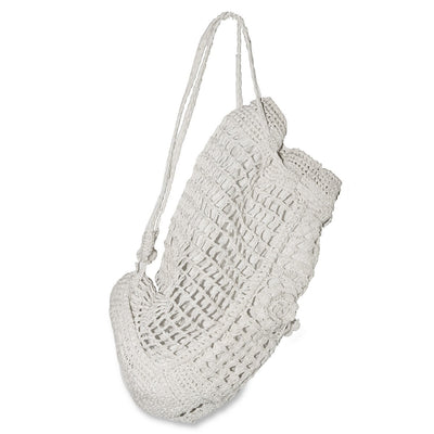 White Straw Macrame Backpack Handbag 4