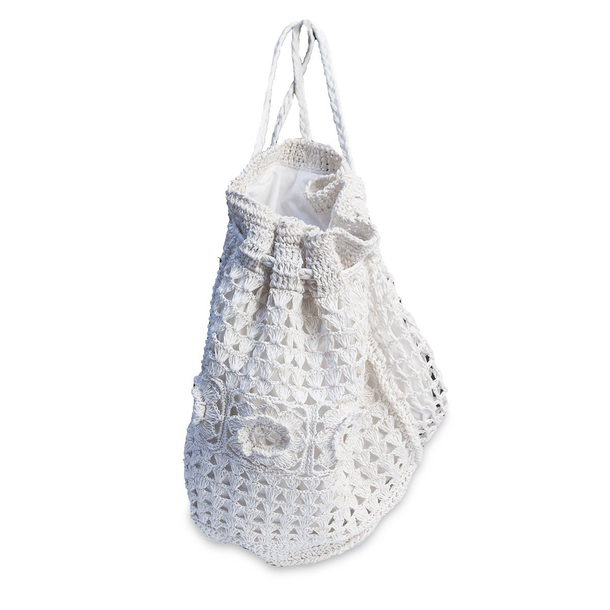 White Straw Macrame Backpack Handbag 2