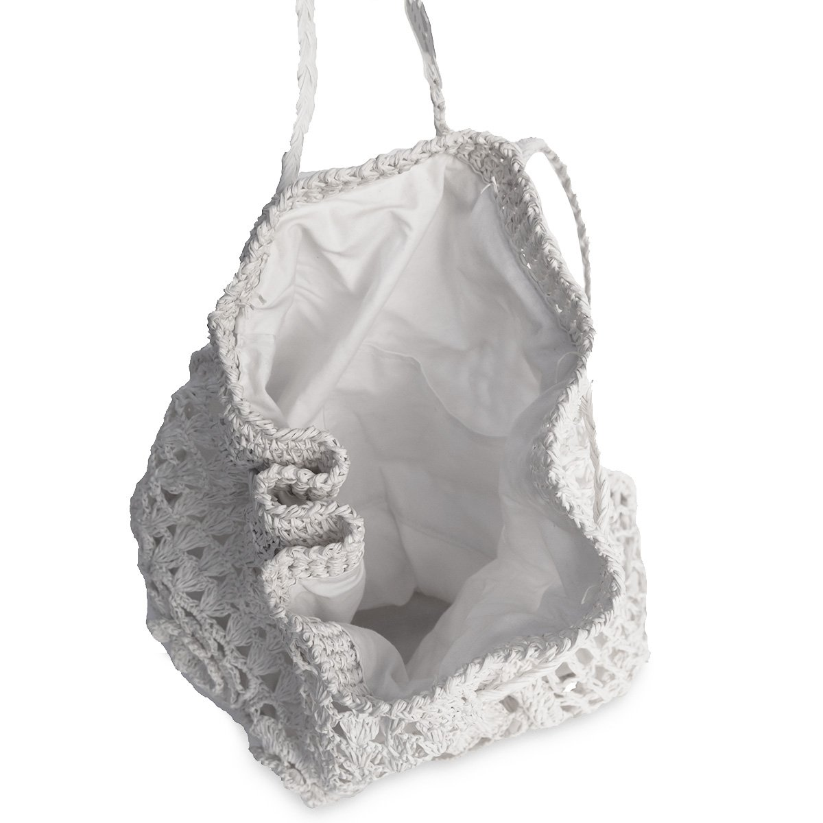 White Straw Macrame Backpack Handbag 6