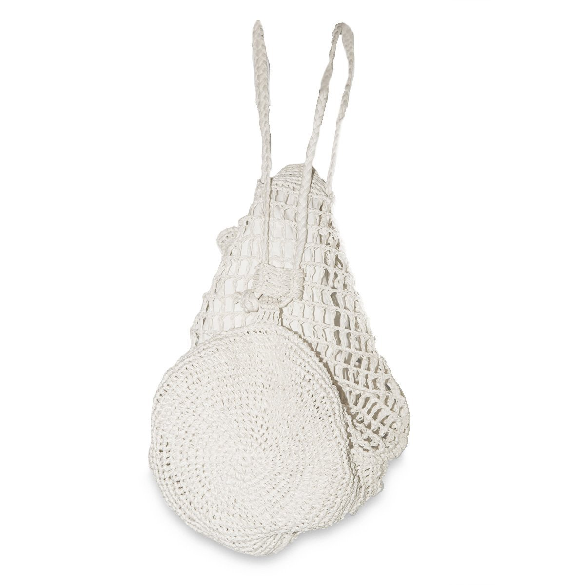 White Straw Macrame Backpack Handbag 5