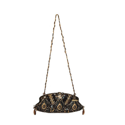 Mary Frances Handbag - Black Leather Baguette
