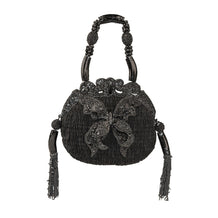 Beaded Butterfly Handbag, Shirred Black Fabric by Mary Frances, Style #1711