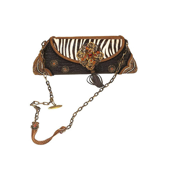Leather & Zebra Print Baguette by Mary Frances