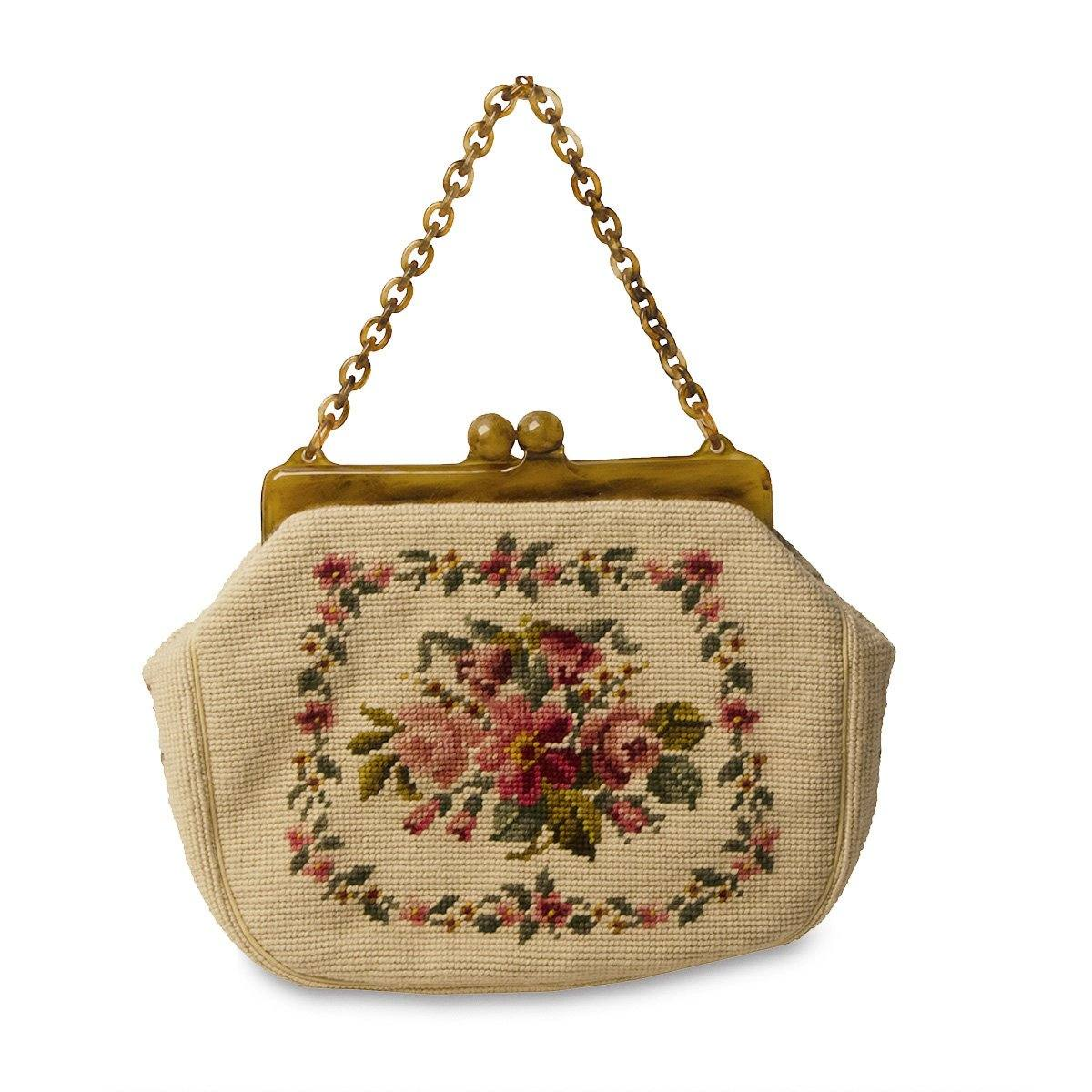 Rare Maud Hundley 1950s Needlepoint Handbag, Cream with Floral Design