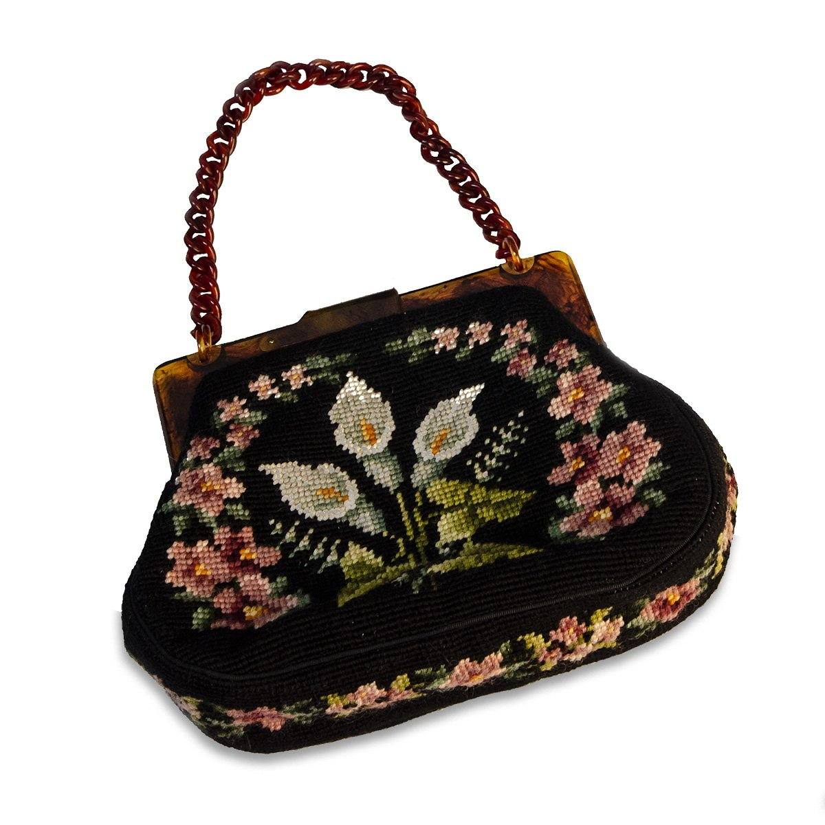 Maud Hundley Needlepoint purse, Black, Pink, Blue, White Floral