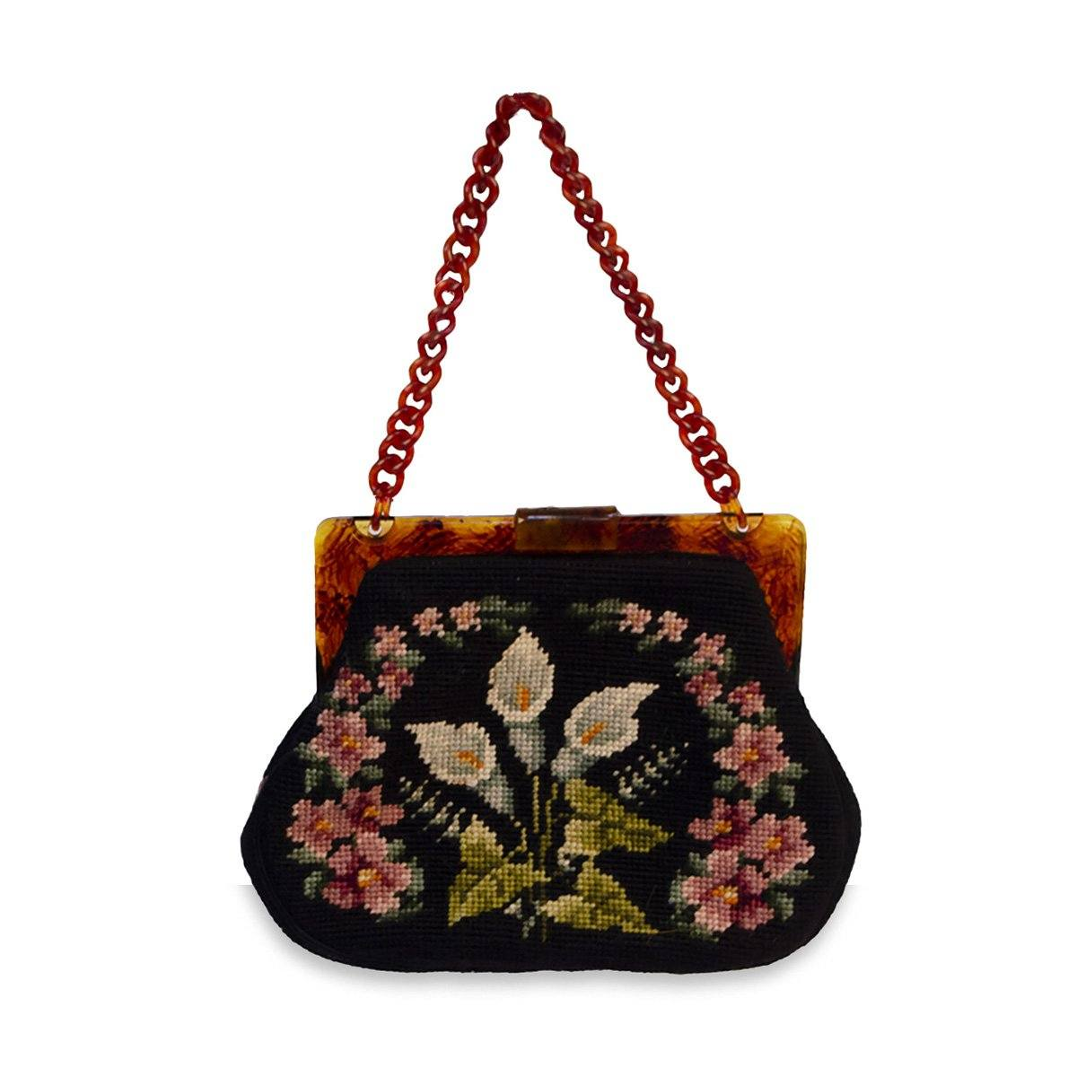 Maud Hundley Needlepoint purse 2, Black, Pink, Blue, White Floral