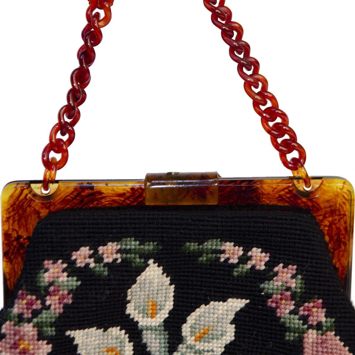 Maud Hundley Needlepoint Handbag 4, Black, Pink, Blue, White Floral