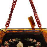 Maud Hundley Needlepoint Handbag 5, Black, Pink, Blue, White Floral