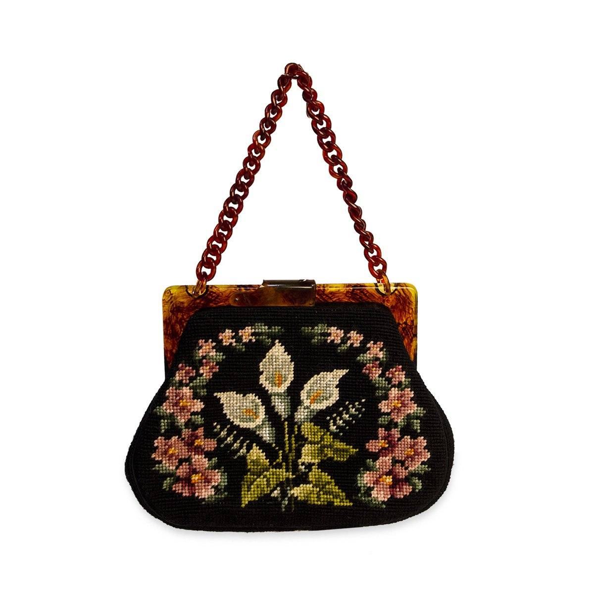 Maud Hundley Needlepoint handbag, Black, Pink, Blue, White Floral