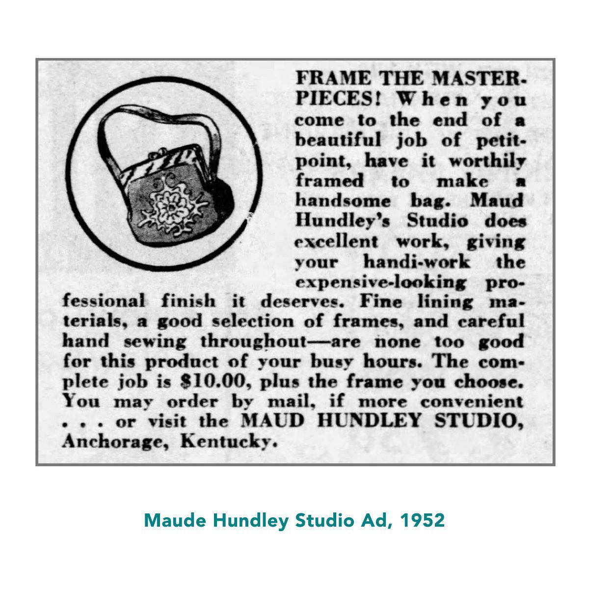 Maud Hundley advertisement 1952