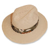 Wide Brim Straw Fedora 2, Green Abstract Hatband, Hat Size 7