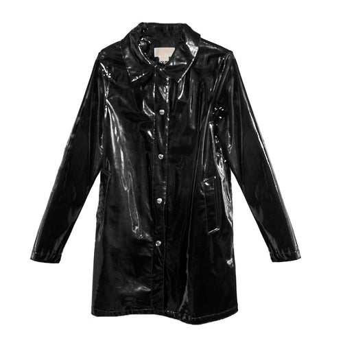 Michael Kors Trench Coat, Black Patent Leather Raincoat