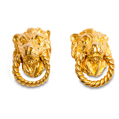Vintage 70s Mimi Di N Gold Door Knocker Earrings