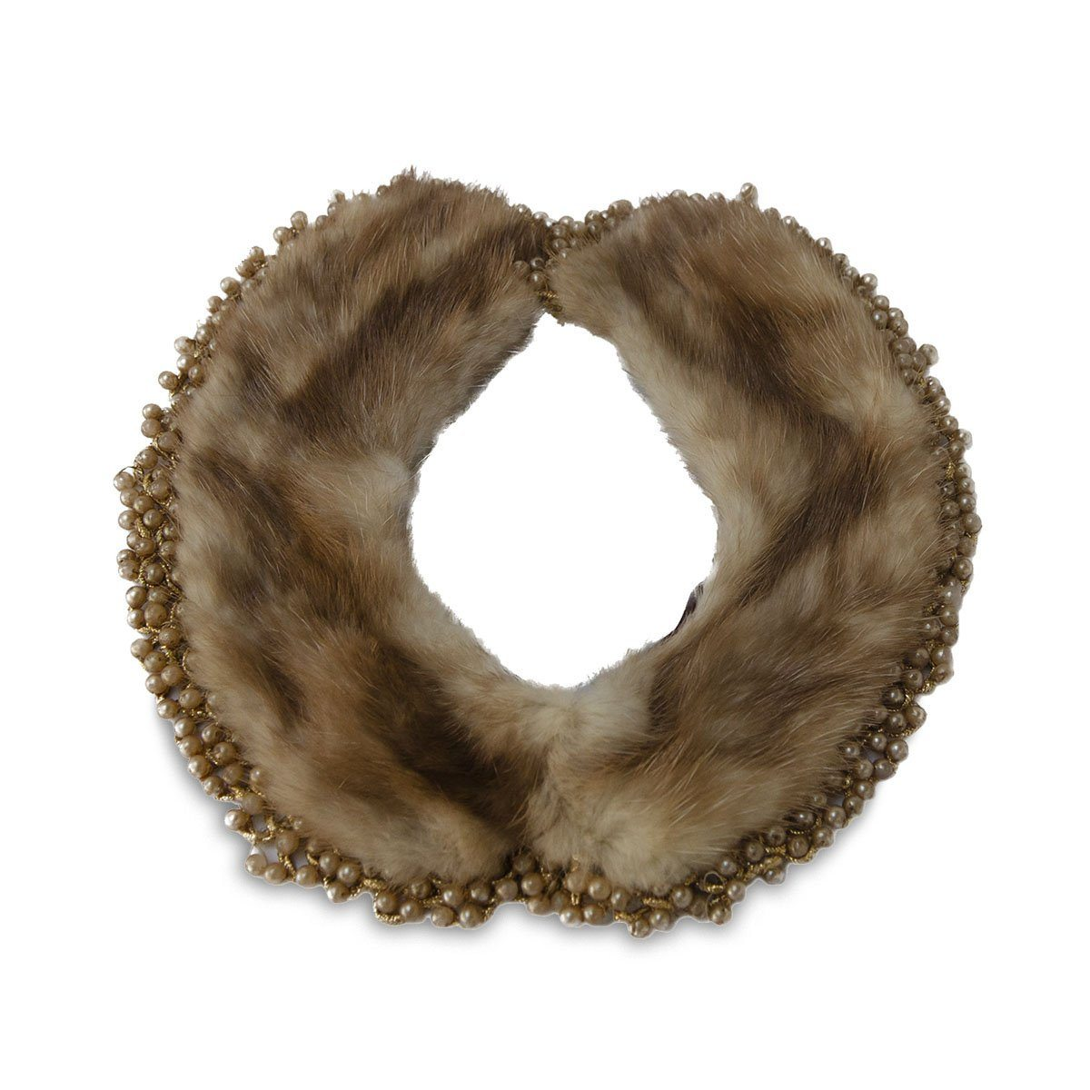 1940s Brown Mink Beaded Collar Necklace, 21""