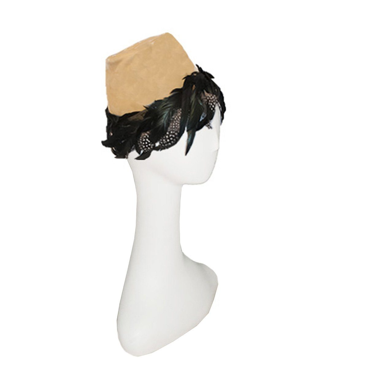 1950s John Frederics Hat, Gold Velvet, Black Hackle Feathers, Hat Size 20