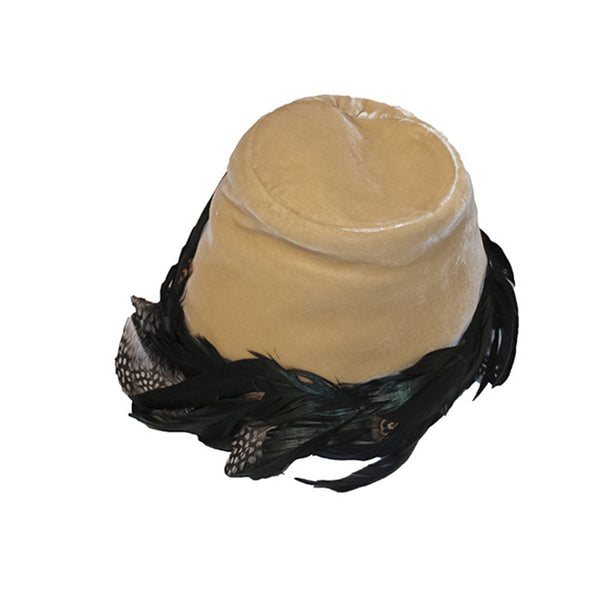 1950s John Frederics Hat, Gold Velvet & Black Hackle Feathers