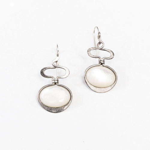 Vintage Sterling Silver & Mother-of-Pearl Modernist Pierced Earrings