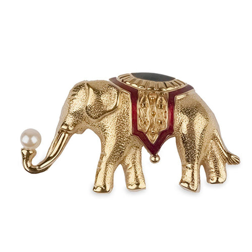 Vintage 70s Monet Gold Elephant Brooch