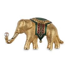 Vintage Monet Gold Plated Elephant Brooch, Green Enamel