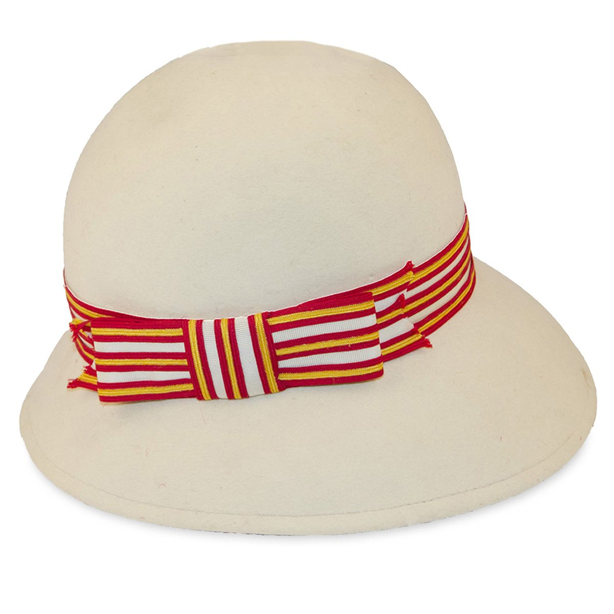 Vintage 1970s Cloche Hat, Mr John, Red & Orange Stripe, Hat Size 21