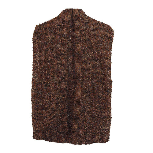 Long 1970s Brown Vest, Nubby Hand-Knit