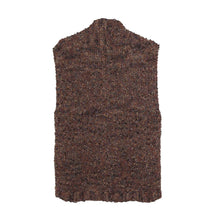 1970s Long Brown Vest, Nubby Hand-Knit