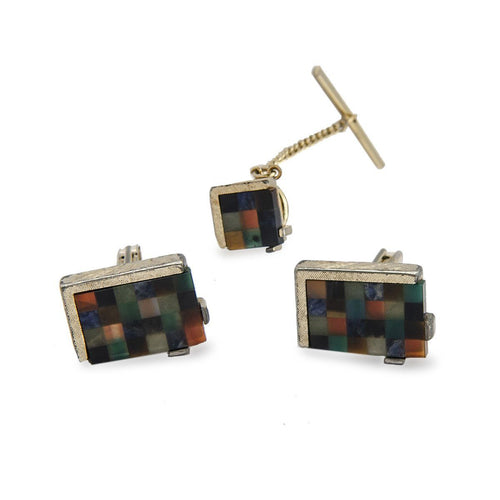 Mid Century Swank Cufflinks & Tie Tac Set, Multi Color Lucite Blocks