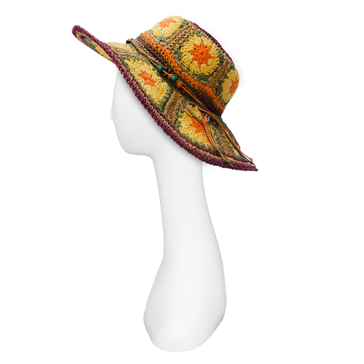 Boho Wide Brim Straw Hat 6