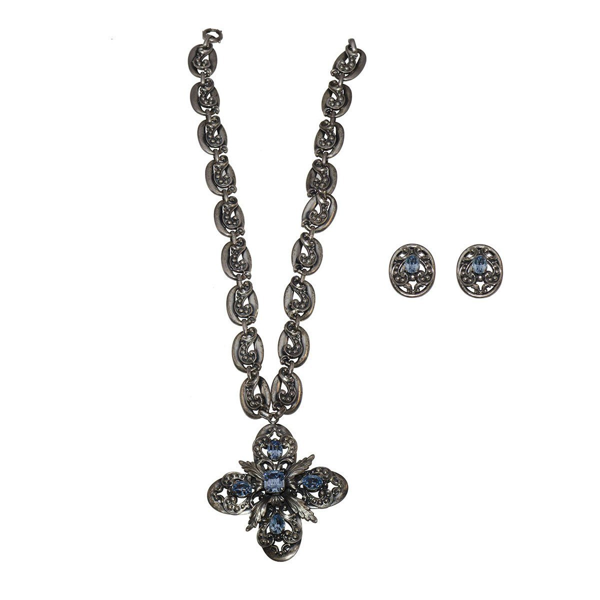1950s Napier Silver Plate Pendant Necklace & Earrings Set, Maltese Cross