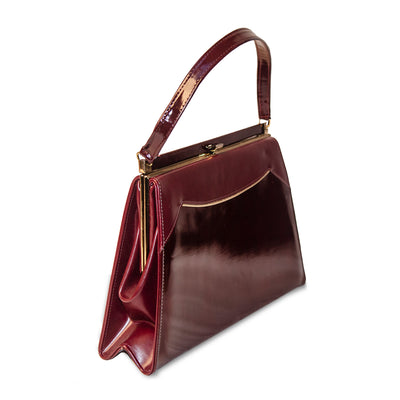 Vintage Naturalizer Two Tone Burgundy Structured Handbag 4, Gold Hardware