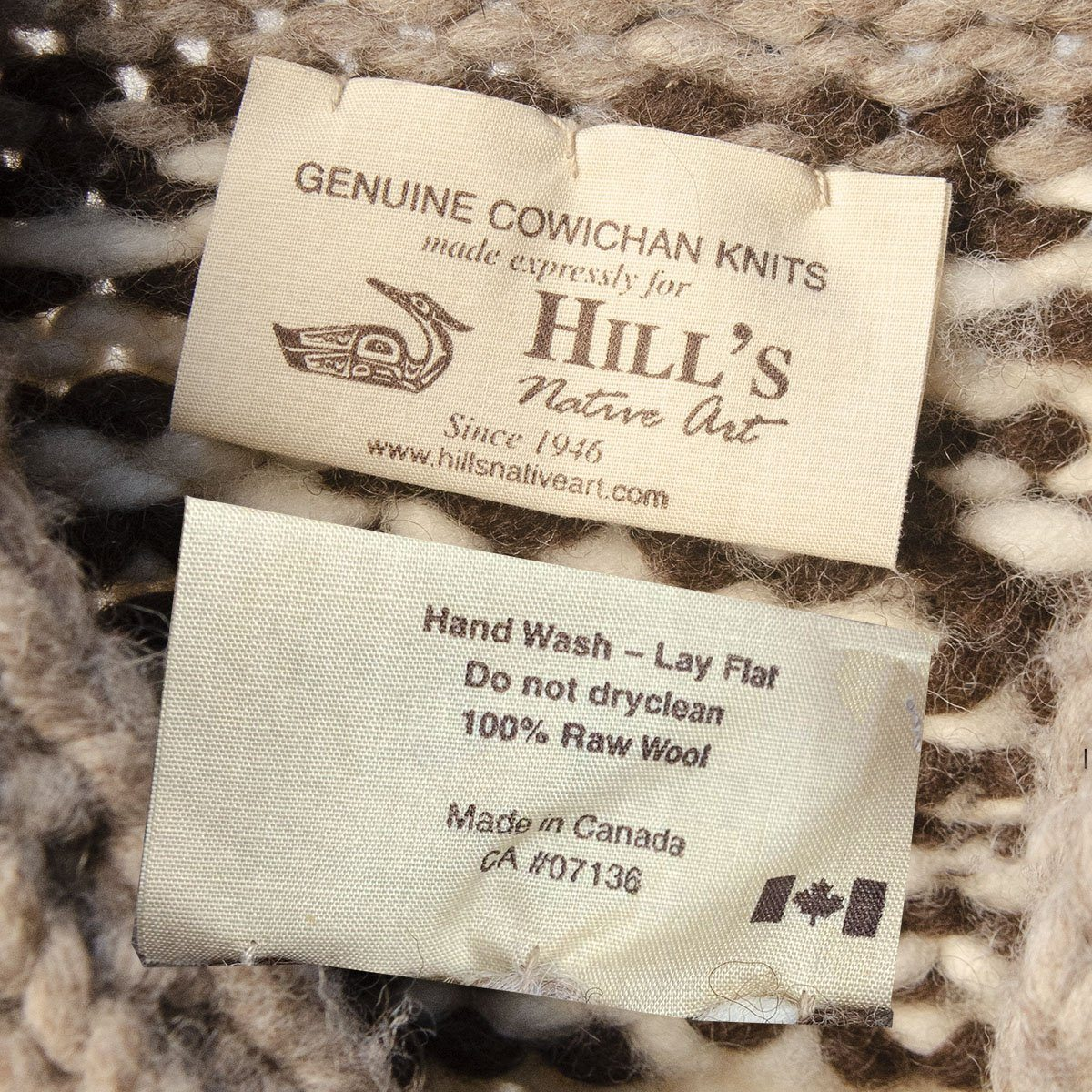 Canadian First Nation Cowchin Cardigan Sweater Label