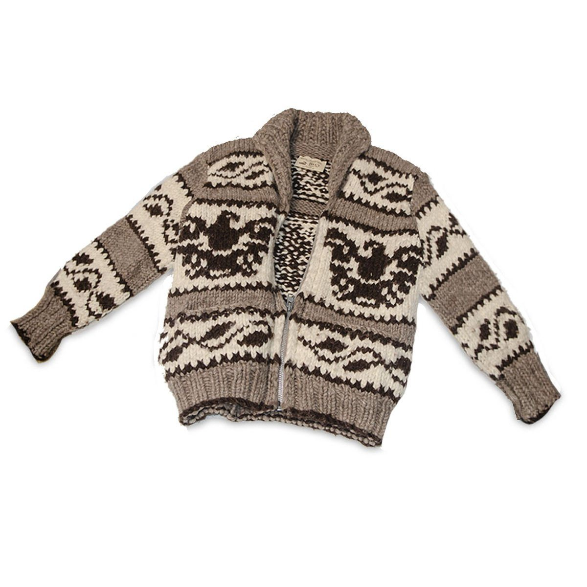 Canadian First Nation Cowchin Cardigan Sweater, Thunderbird Design 3