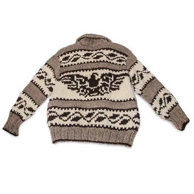 Canadian First Nation Cowchin Cardigan Sweater, Thunderbird Design 2