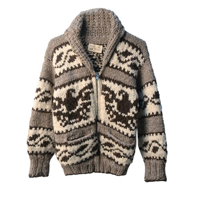 Canadian First Nation Cowchin Cardigan Sweater, Thunderbird Design