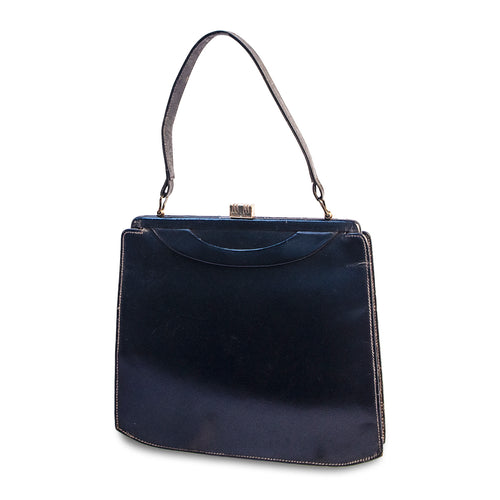 1950s Structured Handbag in Navy Leather, Made in England