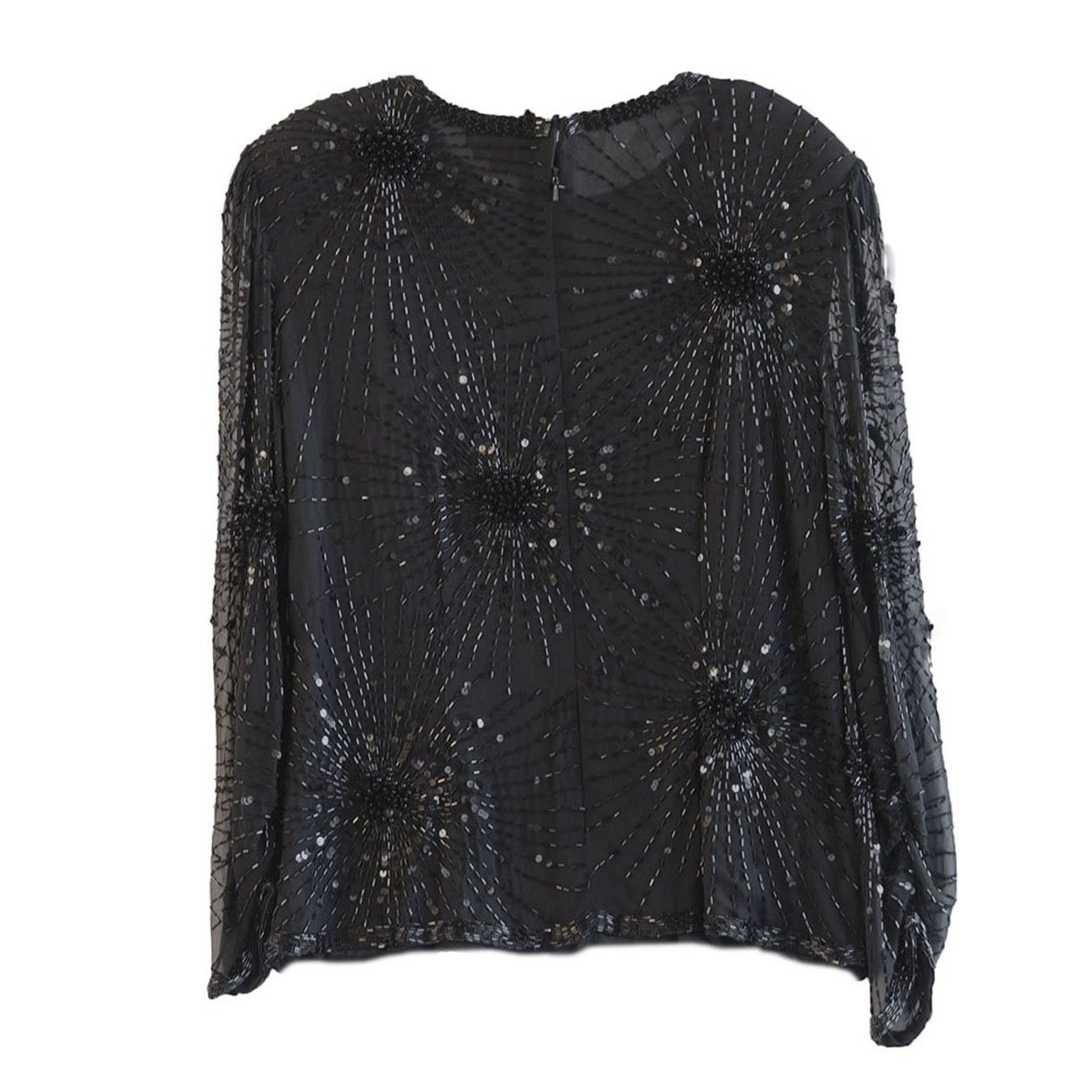 1970s Beaded Black Silk Chiffon Blouse 6 by Oleg Cassini