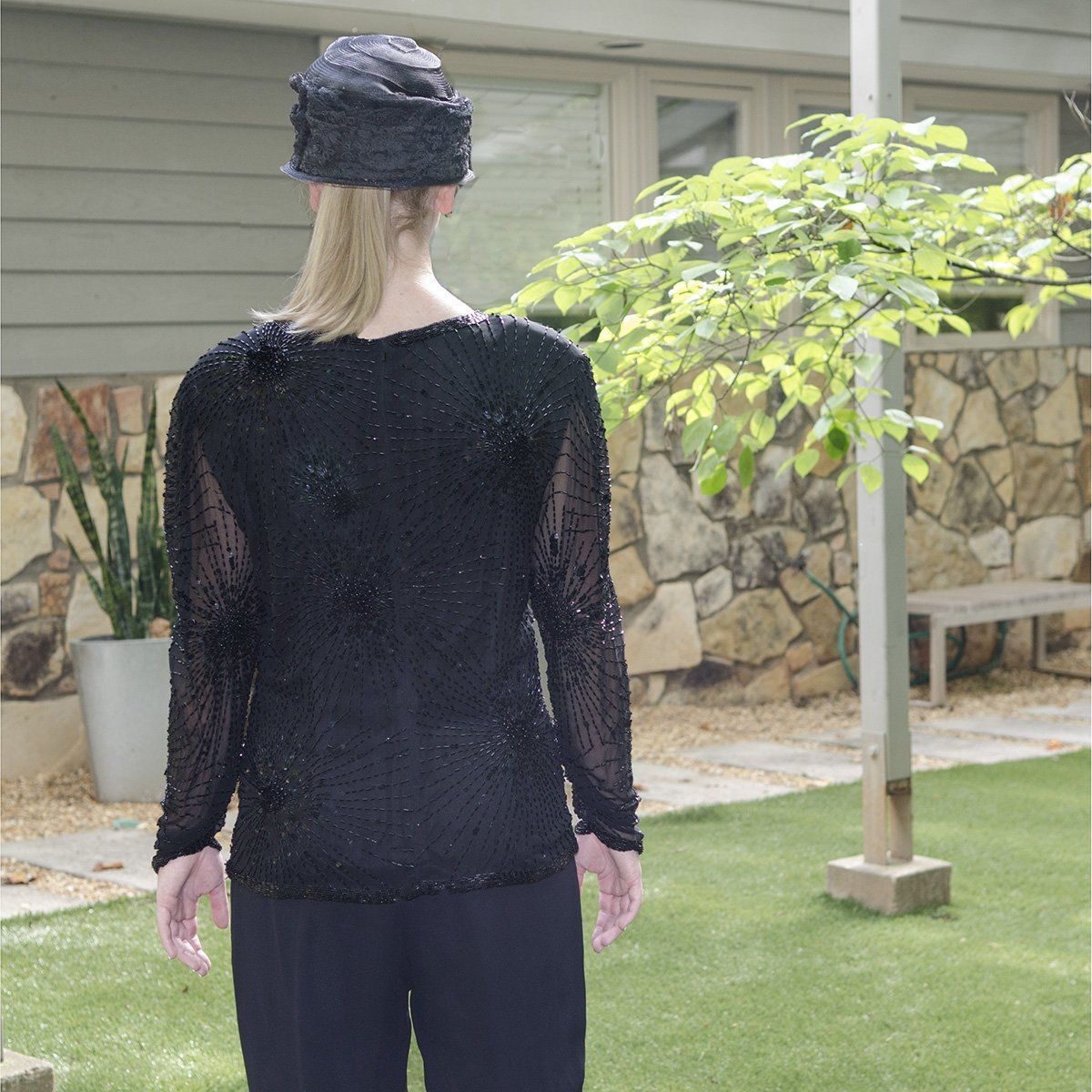 1970s Beaded Black Silk Chiffon Blouse by Oleg Cassini